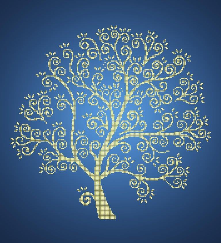 Схема для вишивки та вишивання бісером Бисерок «Срібне дерево» Синій фон (40x45)  (ЧВ-6026-с (10)) Г