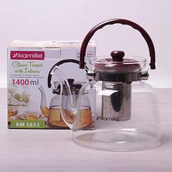 Заварочный чайник 1400 мл Kamille стеклянный со съемным ситечком и ручкой (заварник, для газовых плит)