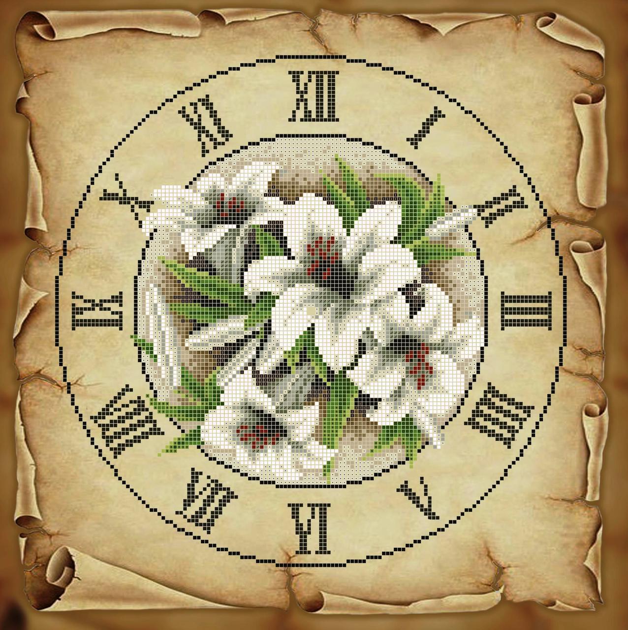 Схема для вишивки та вишивання бісером Бисерок «Годинник з ліліями» Коричневий фон (40x45) (ЧВ-6050к (10)) К