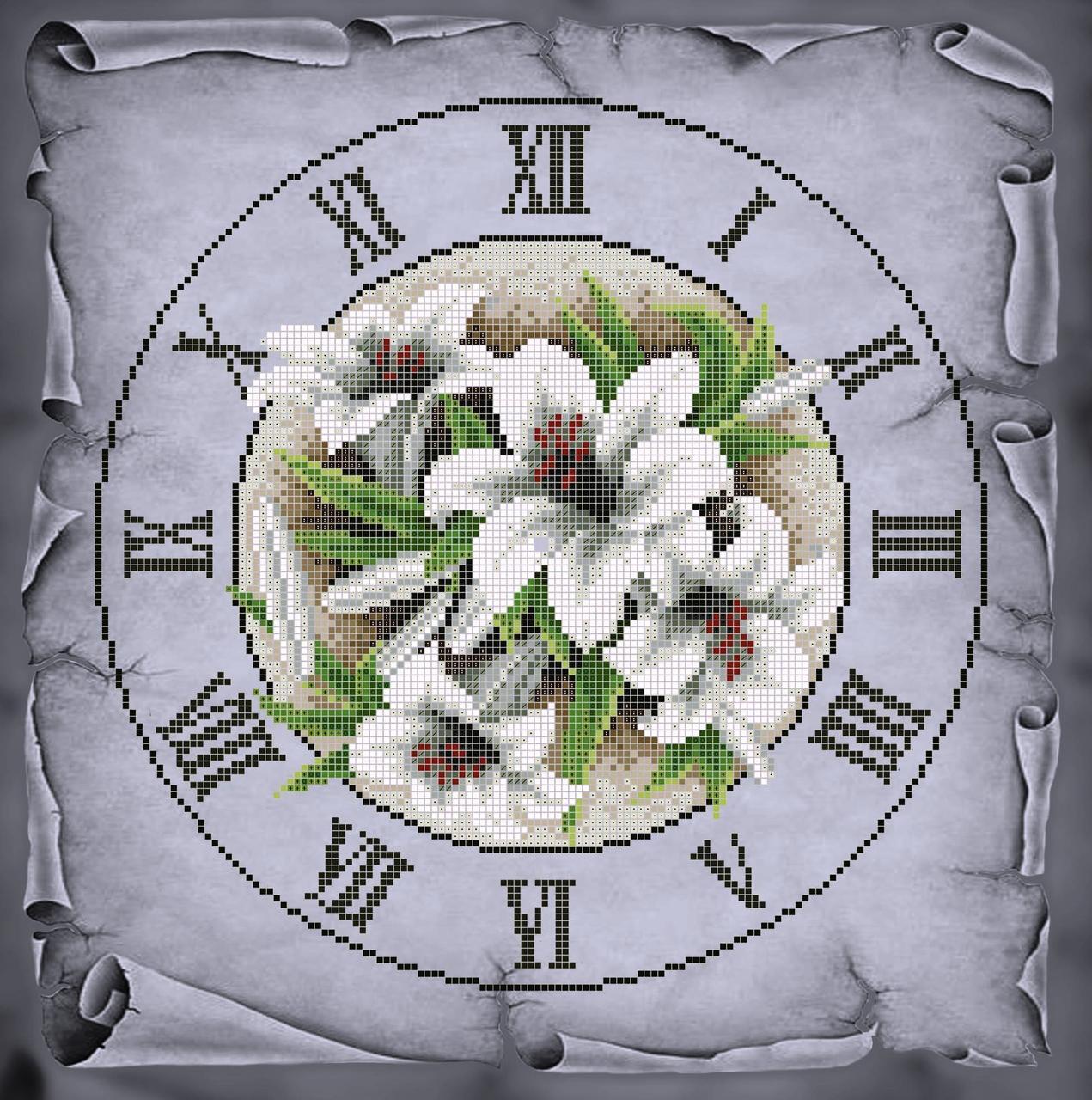 Схема для вишивки та вишивання бісером Бисерок «Годинник з ліліями» Сірий фон(40x45) (ЧВ-6050с (10))