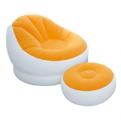 Надувное кресло с пуфом Intex 68572 Orange