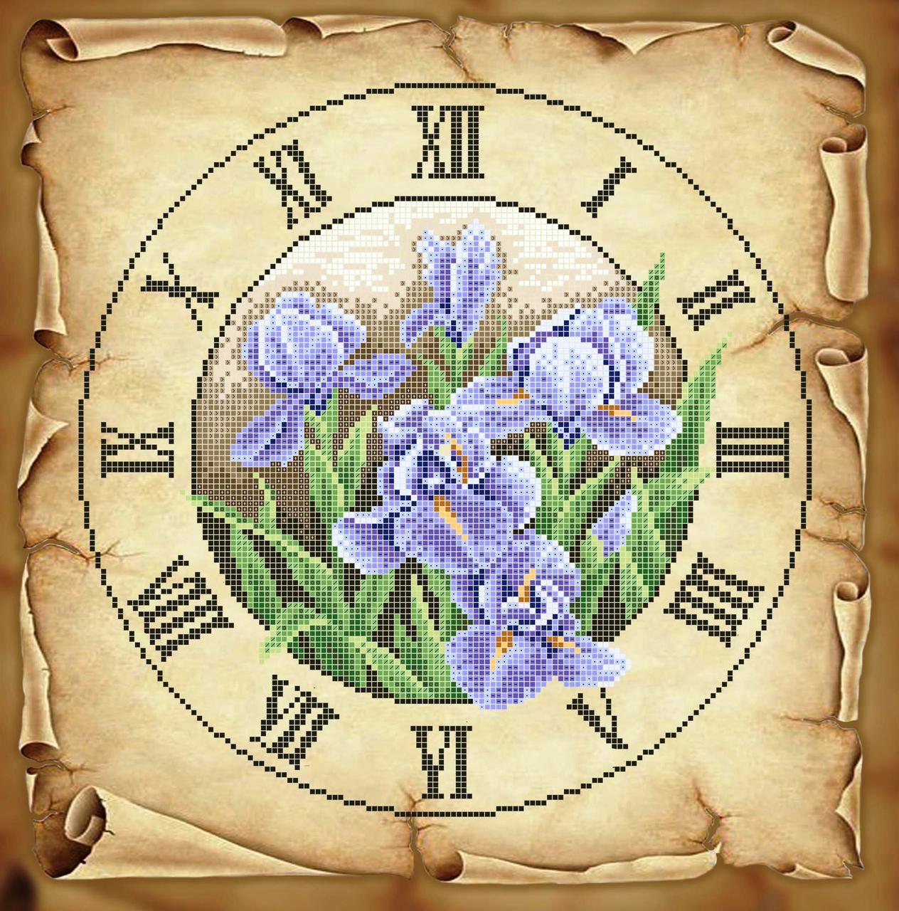 Схема для вишивки та вишивання бісером Бисерок «Годинник з ірисами» Коричневий фон(40x45) (ЧВ-6051 (10)) К