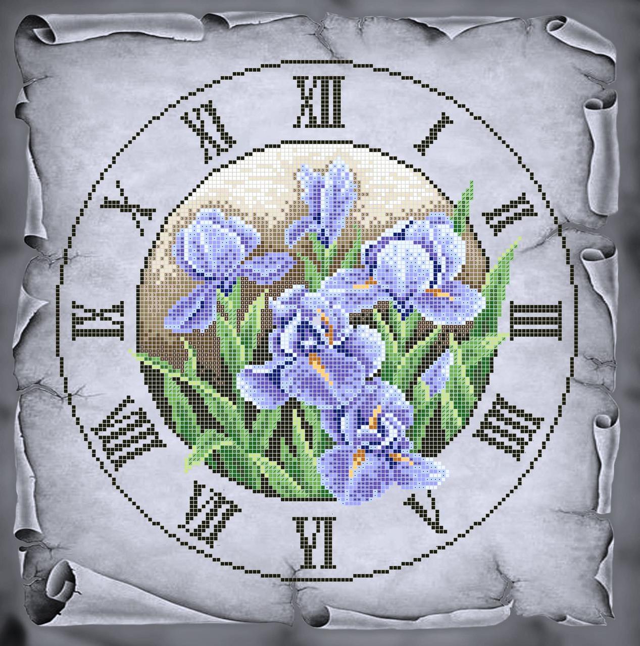 Схема для вишивки та вишивання бісером Бисерок «Годинник з ірисами» Сірий  фон(40x45 e18a8ddb00a69