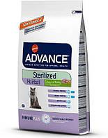 Сухой корм для стерилизованных котов ЭДВАНС (Advance) Хейрбол стерилизован. с индейкой. 10кг