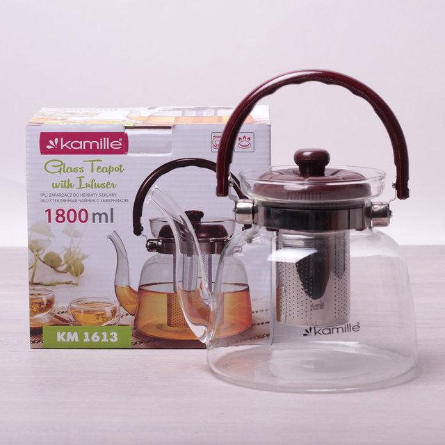 Заварочный чайник 1800 мл Kamille стеклянный со съемным ситечком и ручкой (заварник, для газовых плит)