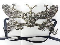 Золотистые карнавальные маски. Ажурные, венецианские маски оптом 27