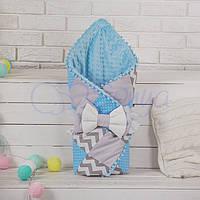 Конверт-одеяло на выписку ТМ Маленькая Соня  лоскутный, Зигзаги серо-голубые
