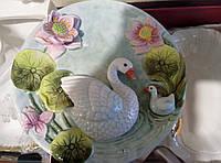 """Декоративная 3D керамическая тарелка """"озеро с лебедями"""""""