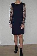 Платье  рукав сетка в горох 42, синий