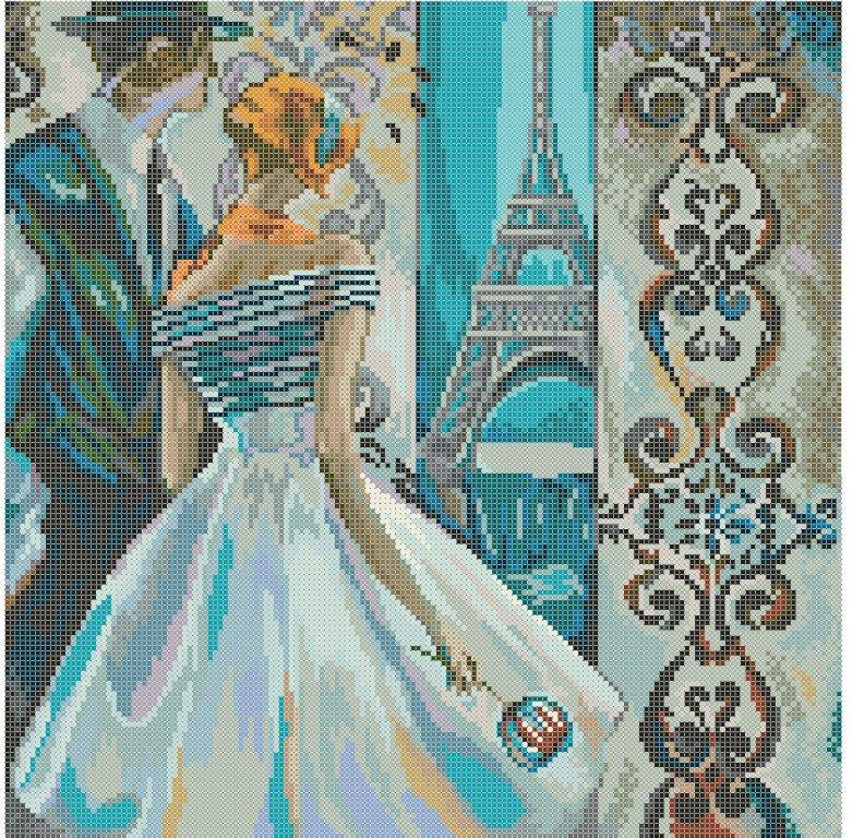 Схема для вишивки та вишивання бісером Бисерок «Незнайомка: Париж» (40x45) (ЧВ-6032(10))