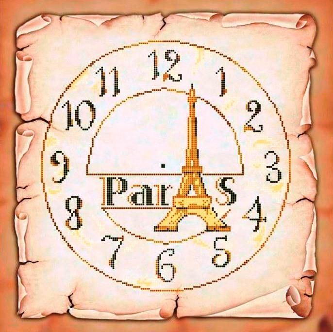 Схема для вишивки та вишивання бісером Бисерок «Годинник Париж» (40x45) (ЧВ-6044(10))