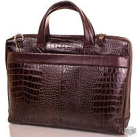 Кожаный коричневый мужской портфель с отделением для ноутбука KARLET