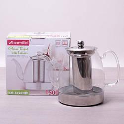 Заварочный чайник 1500 мл Kamille стеклянный со съемным ситечком (заварник, для индукционной плиты)