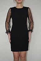Платье  рукав сетка в горох черный