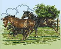 Схема для вишивки та вишивання бісером Бисерок «Сімейство коней» (40x45) (ЧВ 03d94c727fb01