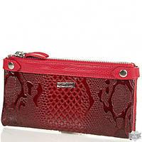 Женский красный кошелек из лакированной кожи под змею DESISAN
