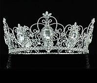 Круглая корона для девочки под серебро с большими камнями, диадема, тиара, высота 8,5 см.