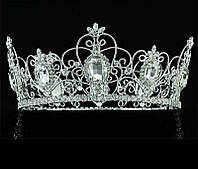 Универсальная мужская круглая корона под серебро с большими камнями, диадема, тиара, высота 8,5 см., фото 1