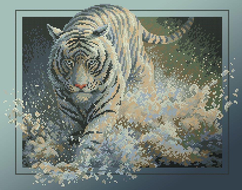 Схема для вишивки та вишивання бісером Бисерок «Тигр у воді 6053» (40x45) (ЧВ-6053 (10))