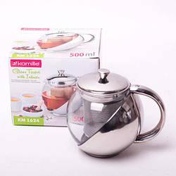 Заварочный чайник 500 мл Kamille стеклянный (заварник)