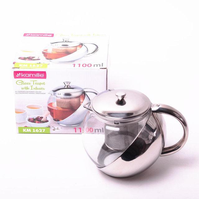 Заварочный чайник 1100 мл Kamille стеклянный (заварник)