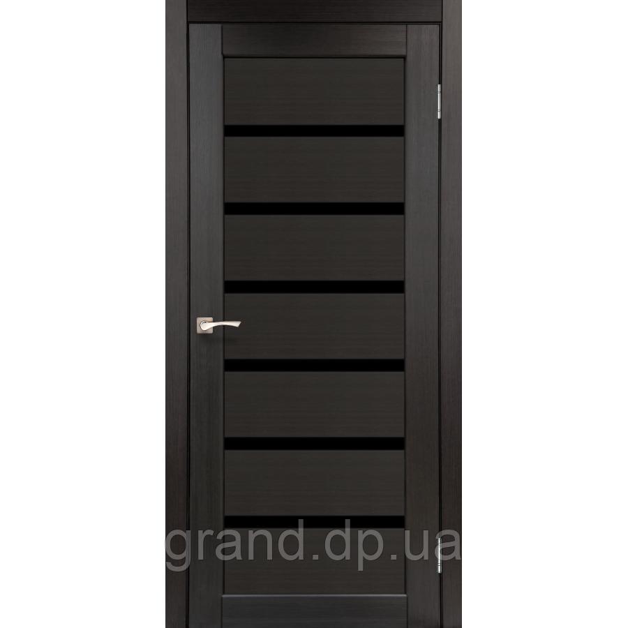 Двери межкомнатные  Корфад PORTO DELUXE Модель: PD-01 венге  с черным стеклом
