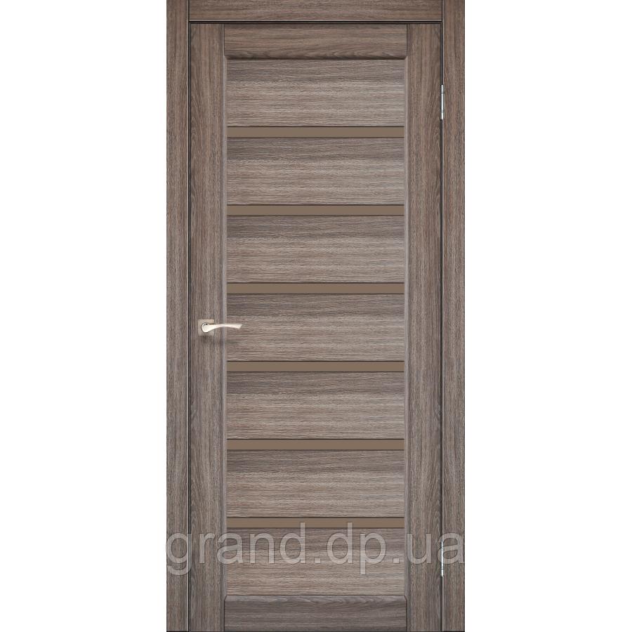 Двери межкомнатные  Корфад PORTO DELUXE Модель: PD-01 дуб грей  с черным стеклом