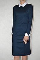 Платье  белый воротник синий