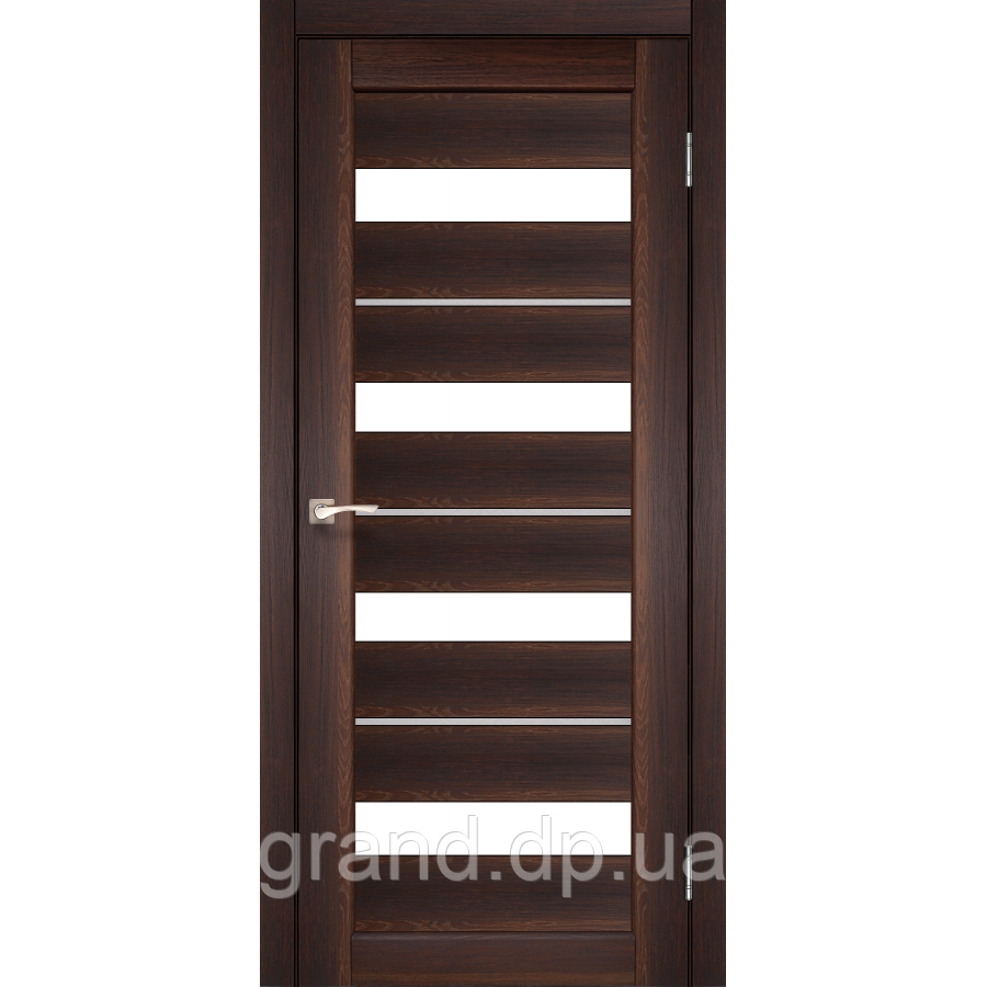 Двери межкомнатные  Корфад PORTO DELUXE Модель: PD-02 орех c матовым стеклом