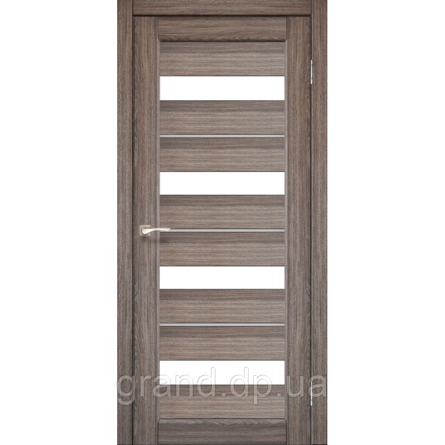 Двери межкомнатные  Корфад PORTO DELUXE Модель: PD-02 дуб грей c матовым стеклом
