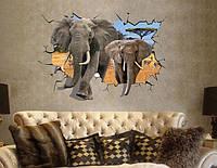 Интерьерная наклейка на стену Слоны 3D