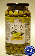 Зелені маслини Helcom Oliwki Zielone Drylowane. Вага нетто 880гр. Маса головного продукту 450гр.