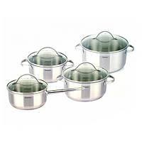 Набор посуды Fissman GABRIELA 8 пр. (Нержавеющая сталь, стеклянные крышки)