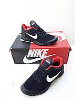 Женские Кроссовки Nike Free Run синие с красным сетка