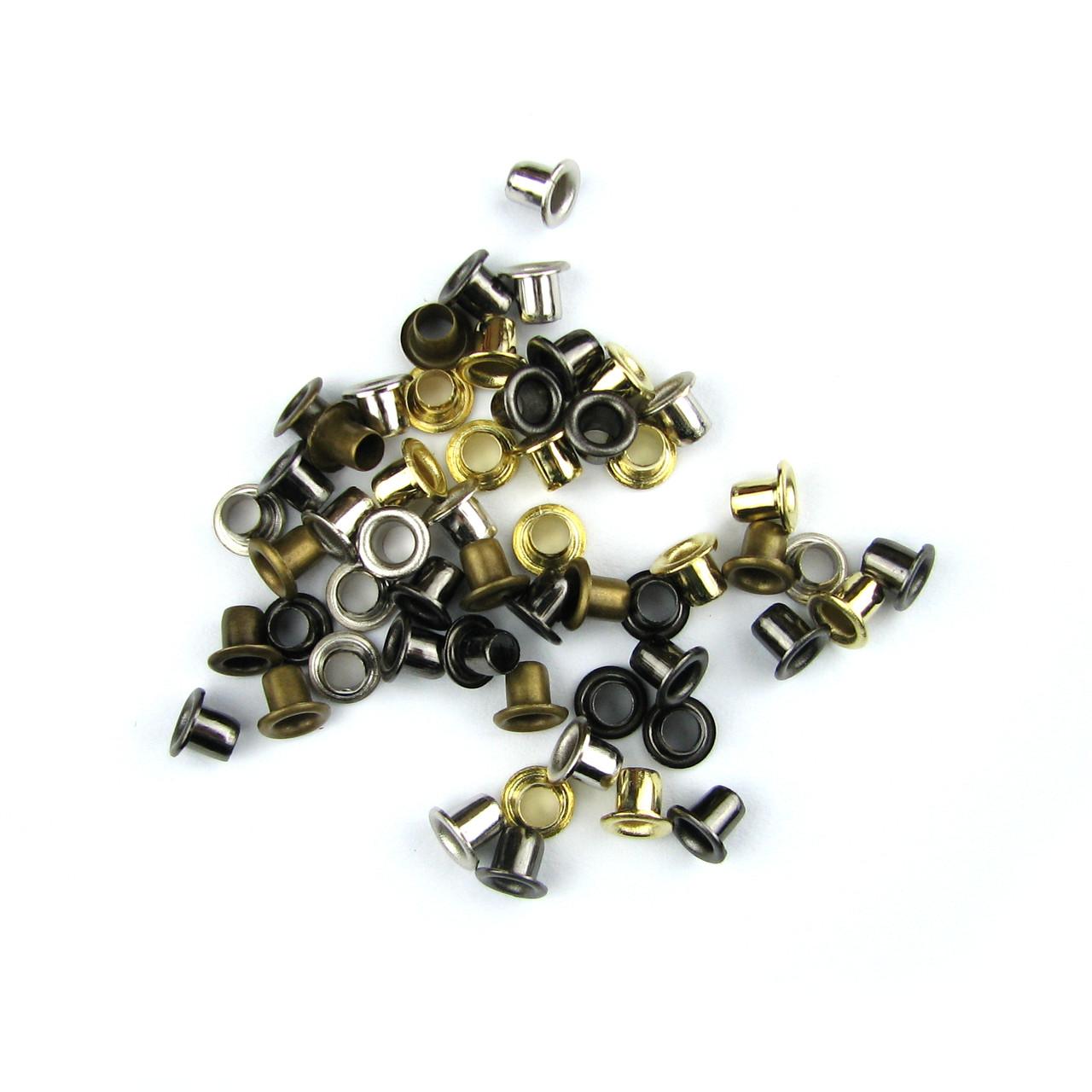 Люверсы Блочки для рукоделия 2,5мм разные цвета 25шт в наборе