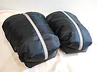 Варежки, муфты раздельные для рук на коляску: черные с полоской