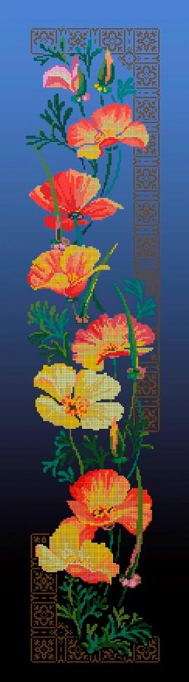 Схема для вишивки та вишивання бісером Бисерок квіти «Маки» синій фон (30x100) (П-3103(10))