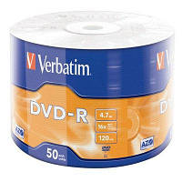 Диск DVD-R диски для видео Verbatim DVD-R 4,7Gb 16x Spindle Wrap 50 pcs