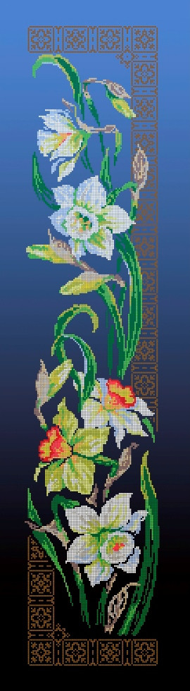 Схема для вишивки та вишивання бісером Бисерок квіти «Нарциси» синій фон (30x100) (П-3102(10))