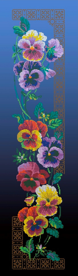 Схема для вишивки та вишивання бісером Бисерок квіти «Братики»  синій фон (30x100) (П-3101(10))