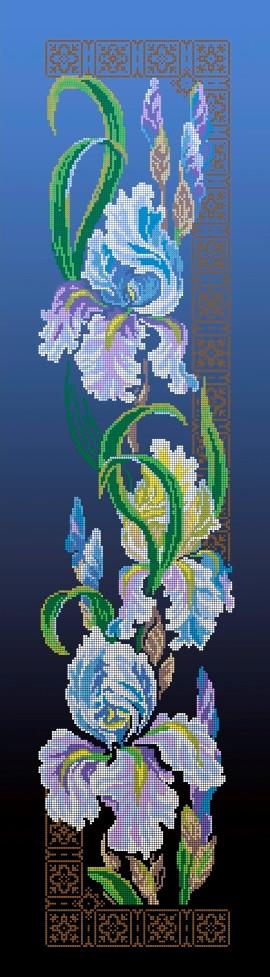 Схема для вишивки та вишивання бісером Бисерок квіти «Іриси» синій фон (30x100) (П-3100(10))