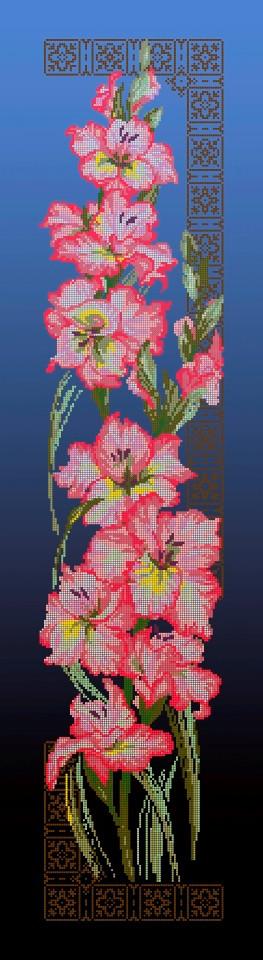 Схема для вишивки та вишивання бісером Бисерок «Гладіолуси»  синій фон (30x100) (П-3107(10))