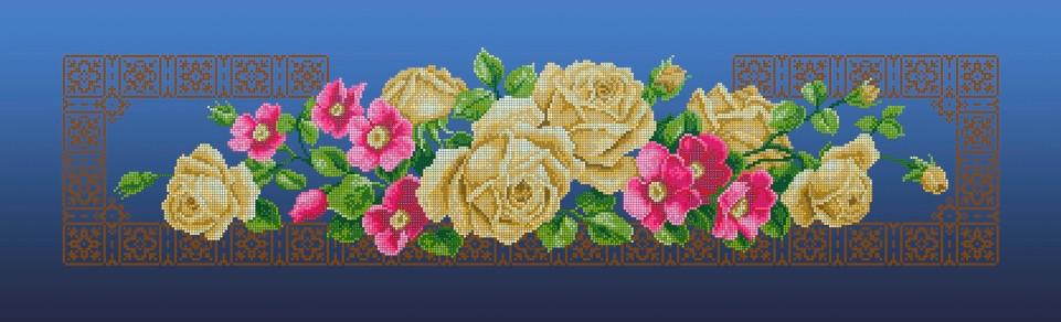 Схема для вишивки та вишивання бісером Бисерок «Жовті троянди»  синій фон  (30x100) (П-3104(10))