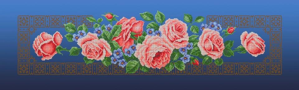 Схема для вишивки та вишивання бісером Бисерок «Кремові троянди» синій фон (30x100) (П-3105(10))