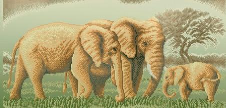 Схема для вишивки та вишивання бісером Бисерок «Семья слонов» (30x100) (П-3409(10))