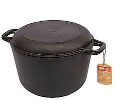 Кастрюля с крышкой-сковородой Биол чугунная литая 4 л (0204)