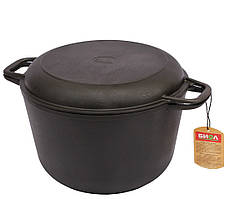 Кастрюля с крышкой-сковородой Биол чугунная литая 6 л (0206)