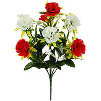 Букет искусственных цветов Гвоздика c подкустником , 36 см