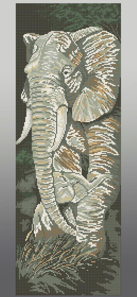 Схема для вишивки та вишивання бісером Бисерок «Слони (П-217» (30x60) (П-217 (10))