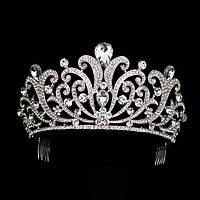 Корона для конкурса, диадема, тиара под серебро, высота 9 см.